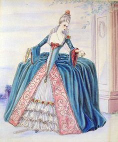 "Watercolor illustration of an 18th-century fantasy period costume. Signed ""Esther Wynn, 1940."" Unframed, on heavy watercolor paper, light tape residue on reverse edge, 11"" L x 15"" H."