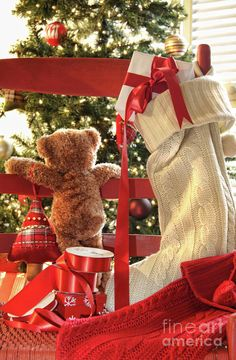 Photo about Little teddy bear looking through chair at christmas tree. Image of stocking, sweetness, christmas - 11638501 Christmas Teddy Bear, Noel Christmas, Country Christmas, Christmas Colors, All Things Christmas, Christmas Decorations, Christmas Ornaments, Holiday Decor, Preschool Christmas