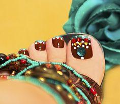 rhinestones colorful toenail art