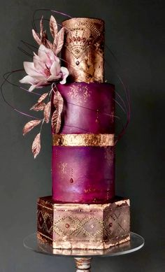 Beautiful handcrafted plum and gold wedding cake Crazy Wedding Cakes, Unique Wedding Cakes, Unique Cakes, Elegant Cakes, Beautiful Wedding Cakes, Gorgeous Cakes, Wedding Cake Designs, Pretty Cakes, Amazing Cakes