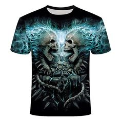 Double Skull Lightning T-Shirt | Skullflow 3d T Shirts, Printed Shirts, Skull Shirts, Mens Casual T Shirts, Men Casual, Punk Costume, Cashmere Sweater Men, Plus Size T Shirts, Skull Print