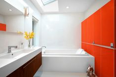 Mid-Century Bathroom with Accent Wall