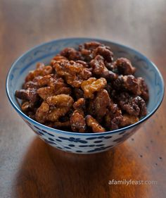 Chinese Fried Walnuts - Addictively salty-sweet and crunchy good! Eat these as a snack, also good on salads or desserts.  A Family Feast.