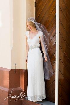 Kate Elegant white veil with rhinestone headband by AmahleBridal