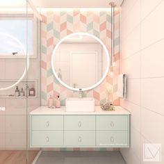 Eu não posso morrer de amores sozinha né? Olhem esse banheiro todo na paleta de cores pastel com um toque dam madeira deixando o ambiente…