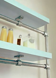 plumbing pipe shelving: can't decide which style I like more!