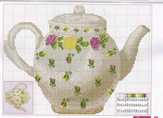 Gallery.ru / Фото #61 - kuchenne - eniutek Counted Cross Stitch Patterns, Cross Stitch Embroidery, Cross Stitch Kitchen, Stitch 2, Cross Stitch Numbers, Bule, Tea Pots, Cross Stitching, Embroidery Patterns