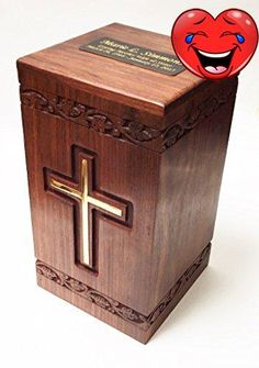 #manythings Beautiful full size adult #wooden funeral cremation urn. solid walnut wood with a brass cross. Can hold up to 250 pounds of body weight before cremat...