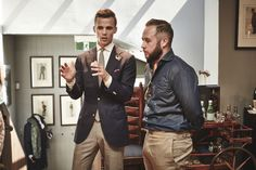 James Want from The Versatile Gent talking to Drew Hoare from M.J. Bale at the Autumn/Winter 2015 Press Launch.
