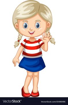 Cute girl waving hand vector image on VectorStock Cute Cartoon Pictures, Cartoon Pics, Cartoon Characters, Cartoon Drawings Of People, Drawing People, Kids Graphics, Lovely Girl Image, Human Drawing, Baby Clip Art