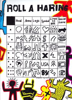 Roll A Haring Art Game. This game is played individually with a dice. After rolling the dice 6 times you will have completed a drawing project in the style of a Keith Haring.