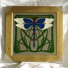 Art Nouveau Dragonfly - glass painting