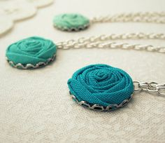 Green Bridesmaid Necklaces in Silver - Teal Jade, Candy & Pale Pond Fabric Roses - Custom Made Bridal Set of 3 via Etsy
