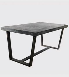 """$1100 Westerly Steel & Concrete Table - industrial style Westerly table features sleek smooth concrete top wrapped in steel w/ decorative bolts & steel legs.  Assoreted sizes available:  24x48, 60""""x36, 60""""x30, 86""""x40, 46""""x66.  Independent designer Patrick Cain Designs from LA industrial builder"""