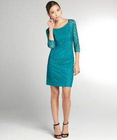 Chetta B jade stretch lace 3/4 sleeve dress