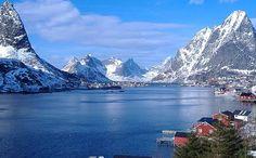 The Reinefjord, in Lofoten, is where quaint fishermen's huts sit below dramatic peaks.