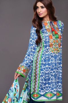 Blue Lawn Outfit from Khaadi Lawn 2015 Collection
