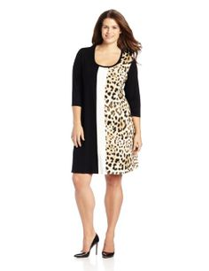 Karen Kane Women's Plus-Size Tri-Panel A-Line Dress #Leopard #Karen_Kane #Plus_Size #Fashion #Amazon