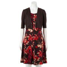 Women's+Perceptions+Abstract+Floral+Dress+&+Shrug+Set