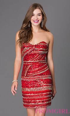 Short Sequin Strapless Sweetheart Dress at PromGirl.com  SI-10119