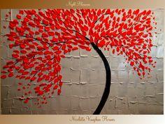 XLarge Original Contemporary modern art  Impasto  painting  floral trees Nicolette Vaughan Horner. $225.00, via Etsy.