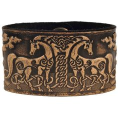 Leather Bracelet Embossed Celtic Horses Antique-black with Snap... ($26) ❤ liked on Polyvore featuring jewelry, bracelets, accessories, leather bangles, antique jewelry, nickel free jewelry, horse jewelry and antique bangle