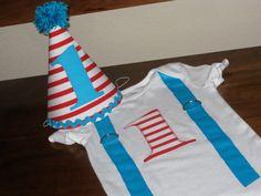 Birthday Hat First Birthday Cat in the Hat by LittleStitchinLu, $15.50