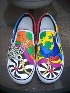 Fabric Painted Slip-ons