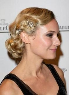 Weddbook ♥ Sleek wedding wavy / curly updo. 20s / 40s / 50s hairstyles for long hair. Finger and marcel waves wedding hairstyle. Diane Kruger's Old Hollywood hairstyle. Celebrities hairstyles. celebrity purple updo wavy curly retro pink flower fairy