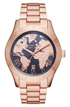 Shimmering crystals light up the globe-inspired dial of this stunning rose gold bracelet watch by Michael Kors.