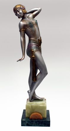 An Art Deco spelter  figure by A Leclerc, France c1930,