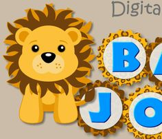 This Blue Lion Baby Shower/Birthday banner can be personalized with any message up to 20 letters and would be adorable for a birthday party, baby shower or room decoration.  OTHER LION PRODUCTS http://www.etsy.com/shop/bcpaperdesigns/search?search_query=lion