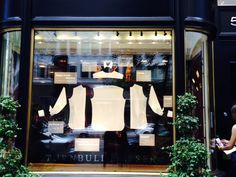 SUBMISSION: Gentleman's shirt dissected in window of British bespoke clothier, Turnbull & Asser - NYC location at E. 57th Street and Park Avenue. Spotted while speeding by in a cab - K. Emmons.