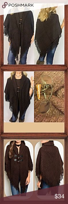 """Cozy Chocolate Brown Poncho Wrap Tassel Wrap yourself in this soft, chocolate brown sweater poncho wrap this season to add instant boho chic style to your look. How I love this sleeveless poncho cape/wrap in a gorgeous dark chocolate brown with two toggle button fasteners. Nice quality sweater material cotton/acrylic blend with tassel trim. One size fits most S-XL - 35"""" at longest point  Sweaters Shrugs & Ponchos"""