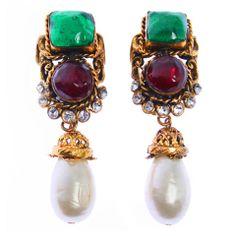 CHANEL Maison Gripoix , Rhinestone and Pearl Earrings