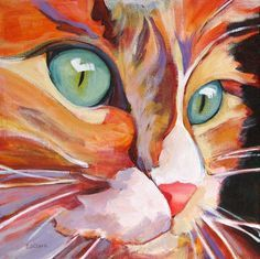 "'On the Watch' acrylic on wrapped canvas Cat Painting, 10""x10"" by artist Carolee Clark ♥•♥•♥"