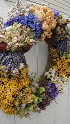 Dried Floral Wreath by donnahubbard on Etsy, $85.00