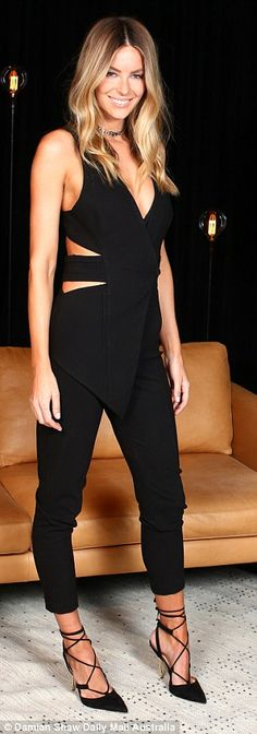 Working it: Jennifer Hawkins, 32, donned an all-black ensemble on Monday at Fox Studios to promote the launch of Australia's Next Top Model, set to air on Tuesday night