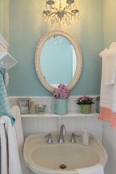 Vintage style guest bath.