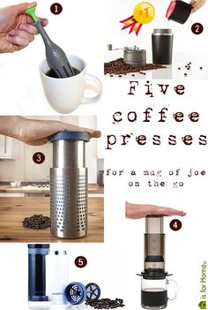 collection of travel coffee presses - perfect for a mug of joe on the go! | @hisforhome