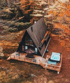 Tiny House Cabin, Tiny House Design, Cabin Homes, A Frame House Plans, A Frame Cabin, A Frame Homes, Wood Frame House, Cabins In The Woods, House In The Woods