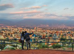 The view of Santiago and the Andes from Cerro San Cristóbal