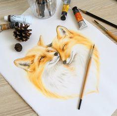 Work in progress. Amazing Drawings, Cute Drawings, Animal Drawings, Watercolor Fox, Watercolor Paintings, Painting Art, Aquarell Tattoo Fuchs, Zorro Tattoo, Fuchs Illustration