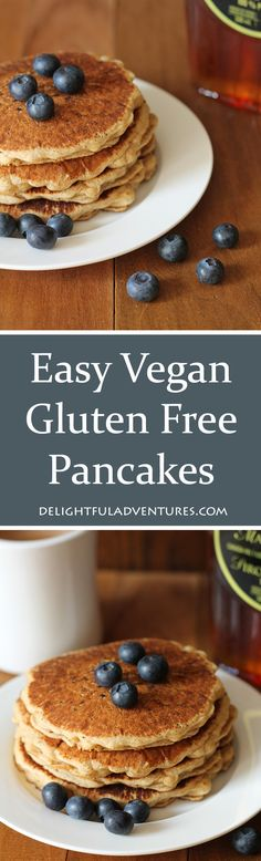 Your search for easy vegan gluten free pancakes has ended! These pancakes are delicious, fluffy and will become your new perfect go-to pancake recipe! via @delighfuladv