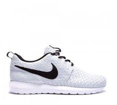 Nike Hombre Roshe Run Flyknit - blancas negras & gris Zapatillas Mejor Precio