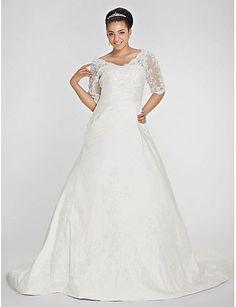 2a9ae7379639 Specials Plus Size Wedding Dress Ball Gown V-neck Chapel Train Taffeta Free  Measurement