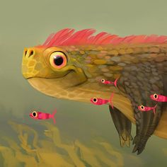 Some kind of a gentle freshwater creech for fun.   Swipe for the full experience >>  .  #art #sketch #creature #nature #color #colorful #freshwater #pink #fish #underwater #cute #instaart #artistsoninstagram #samnassour