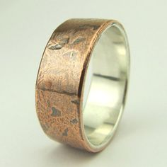 #Mens ring copper and sterling silver band.