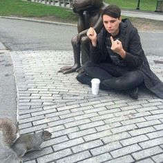 Who doesn't need Dan Howell flipping off a squirrel on their board.