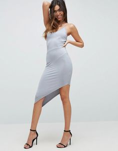 ASOS NIGHT Slinky Strappy Midi Dress With Asymmetric Hem & Seam Detail